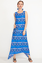 Desenli Cepli Elbise / Mavi