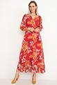 Bel Lastikli Şifon Elbise / Kırmızı