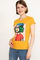 Baskılı Kısa Kol T-shirt / Hardal