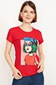 Baskılı Kısa Kol T-shirt / Kırmızı