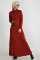 Degaje Yaka Cepli Elbise / Kiremit