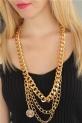Gold Renk Çoklu Bayan Zincir Kolye / Altın