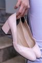 Jemima Pudra Rugan Topuklu Ayakkabı / Pudra