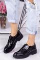 Abbie Siyah Rugan Bağcıklı Oxford Ayakkabı / Siyah