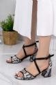 Sherry Siyah Cilt Yılan Detaylı Topuklu Ayakkabı / Siyah