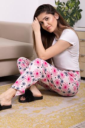 Beli Lastikli Desenli Pijama Altı-P-017031
