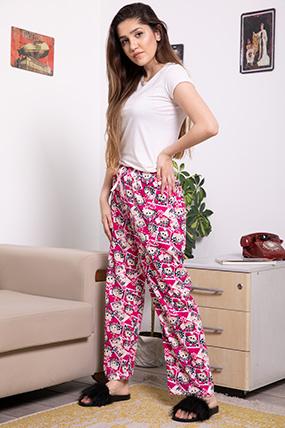 Beli Lastikli Selfi Baskılı Pijama Altı-P-017030