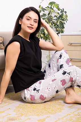 Bel Lastikli Kedi Baskılı Pijama Altı-P-017024