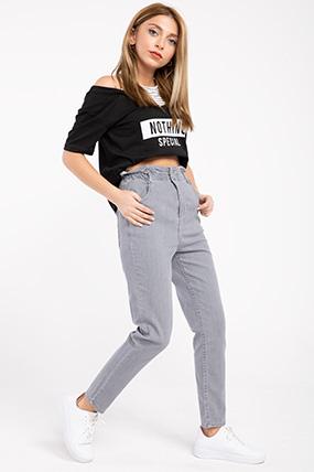 Bel Ve Paca Lastikli Mom Kot Pantolon-P-017476