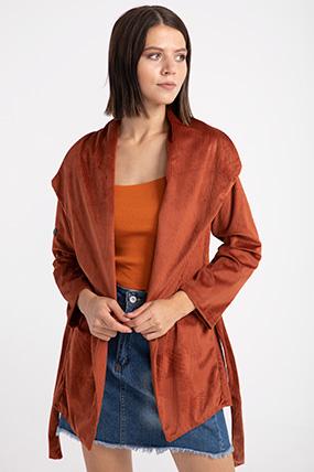 sal yaka kusaklı kadıfe ceket-P-015185