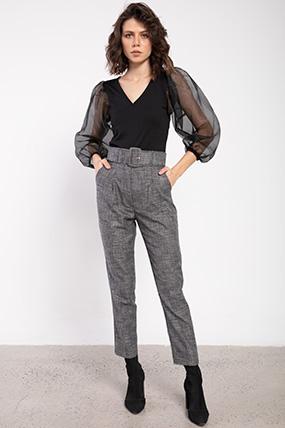 Kalın Kemer Ceplı Desenlı Pantolon-P-016338