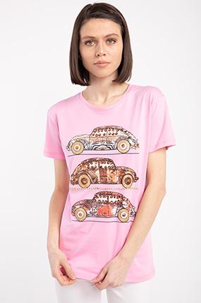 Vosvos Baskılı Varaklı T-shirt-P-017060