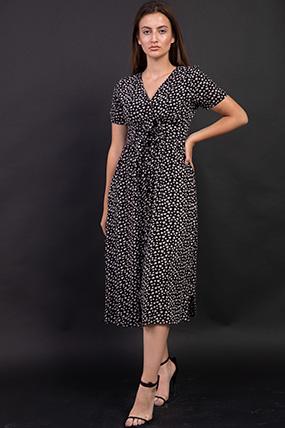 Cicek Desenli Önü Dügmeli Elbise-P-017550