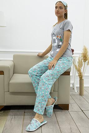 Bugs Bunny Baskılı Terlikli Pijama Takımı-P-017869