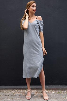 V Yaka Dantel Detay Kaskorse Elbise-P-017928