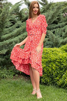Cicek Desenli Kemerli Elbise-P-017933