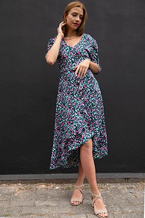 Cicek Desenli Kemerli Elbise-P-017934