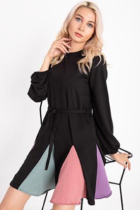 Kusaklı Etegi Fırfırlı Elbise-P-018160