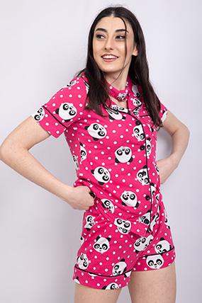 Panda Baskılı Dugmelı Sortlu Pıjama Takımı-P-018547
