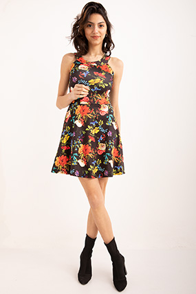 Bısıklet Yaka Cıcek Desenlı Elbise-P-018697