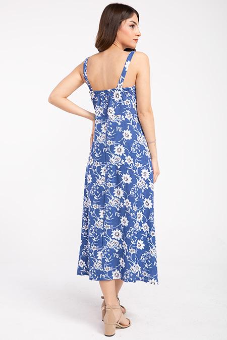 Askılı Onu Fermuarlı Desenli Elbise_
