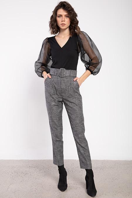 Kalın Kemer Ceplı Desenlı Pantolon_FUME