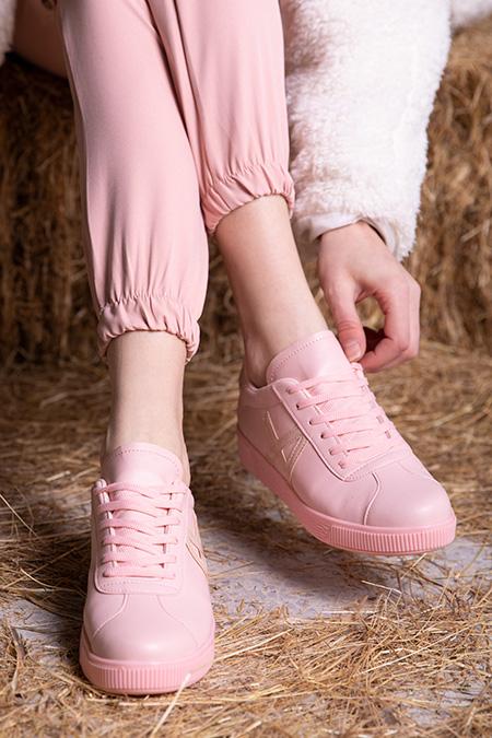 Bagcıklı A Desenlı Spor Ayakkabı_SIYAH