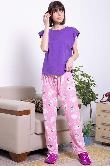 Beli Lastikli Sweet Dreams Baskılı Pijama Altı_