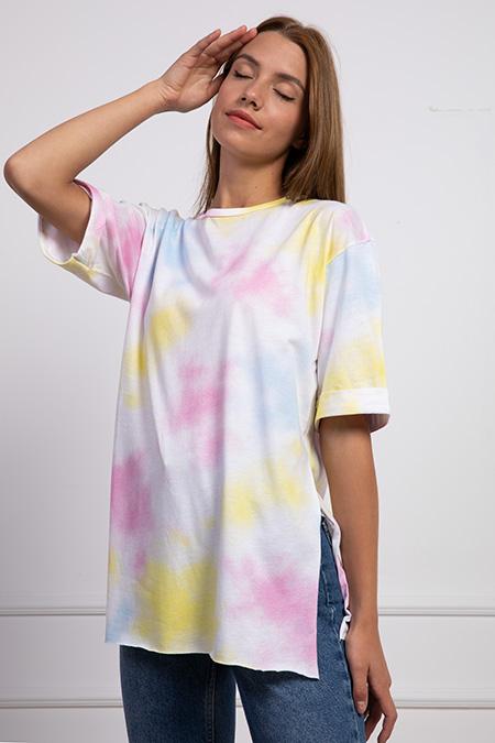 Renkli Yanları Yırtmaclı Salas T-shirt-P-017900