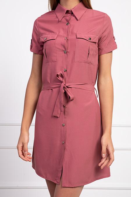 Gömlek Yaka Dügmeli Kusaklı Elbise_LILA