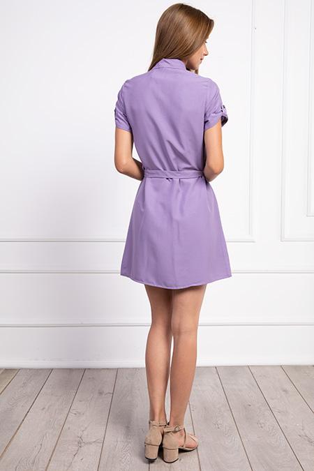 Gömlek Yaka Dügmeli Kusaklı Elbise_