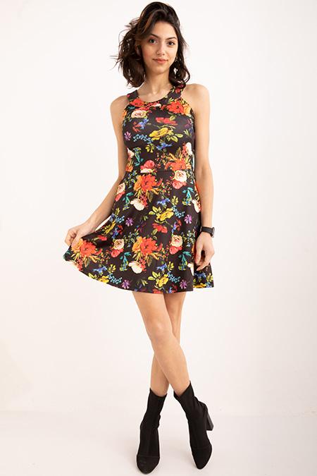 Bısıklet Yaka Cıcek Desenlı Elbise_YESIL