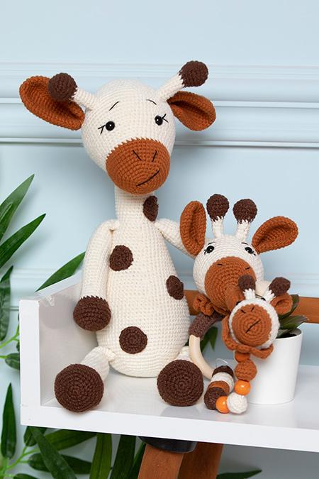Sevimli Zürafa Uyku Arkadaşım Amigurumi 3 lü Set (40 cm)_