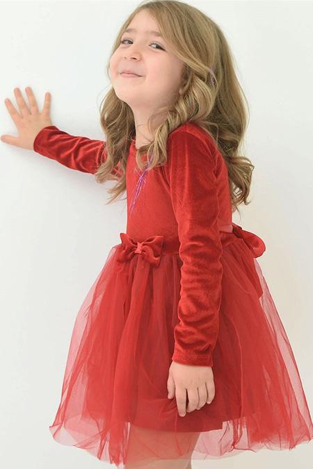 Kız Çocuk Kadife Elbise - 13200-057472