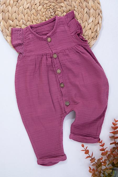 Kız Bebek Kolu Fırfırlı Düğmeli Tulum - 5454 (3-18 Ay)_