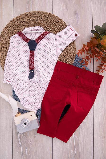 Erkek Bebek Çıtçıtlı Gömlek Takım - 7100 (6-18 Ay)_