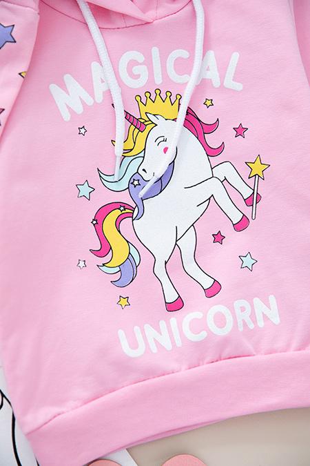 Kız Çocuk Unicorn Baskılı Kapşonlu Sweat - 108 (1-4 Yaş)_