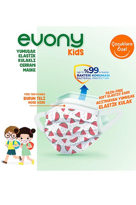 Evony Elastik Kulaklı Çocuk Evony Kids Maske 10 lu_