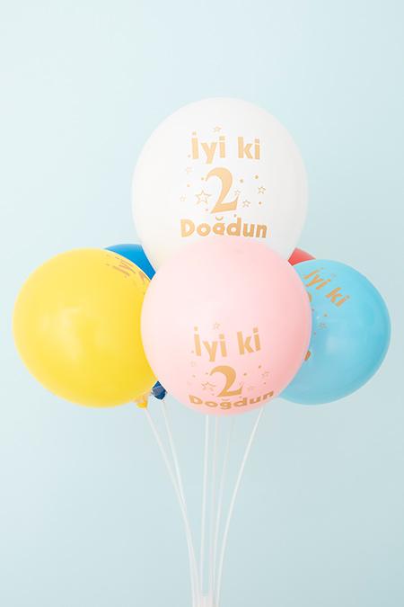 İyiki Doğdun 2 Baskılı Balon (6 Adet)_