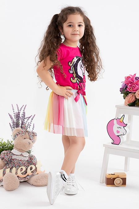 Kız Çocuk Unicorn Nakışlı Etekli Takım - 123139 (2-6 Yaş)_