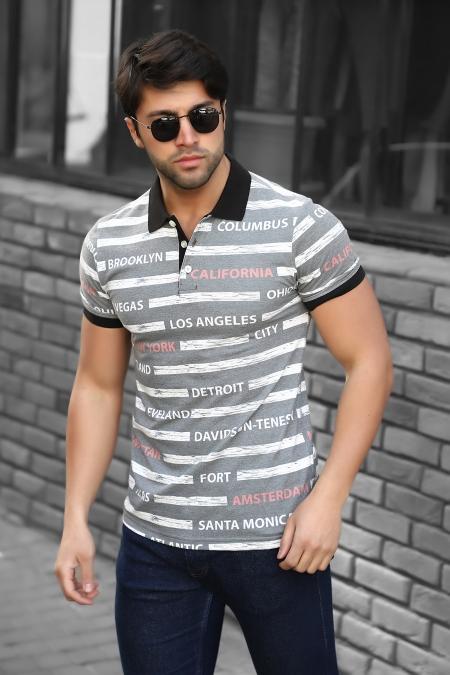 Baskılı Polo Yaka T-Shirt 19-Y4229_
