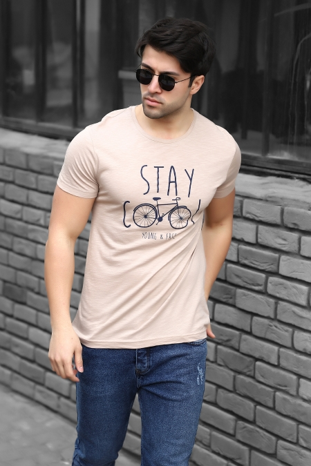 Stay Cool Baskılı Regular Fit Pamuklu T-shirt AC-Y38339LNS-414326119