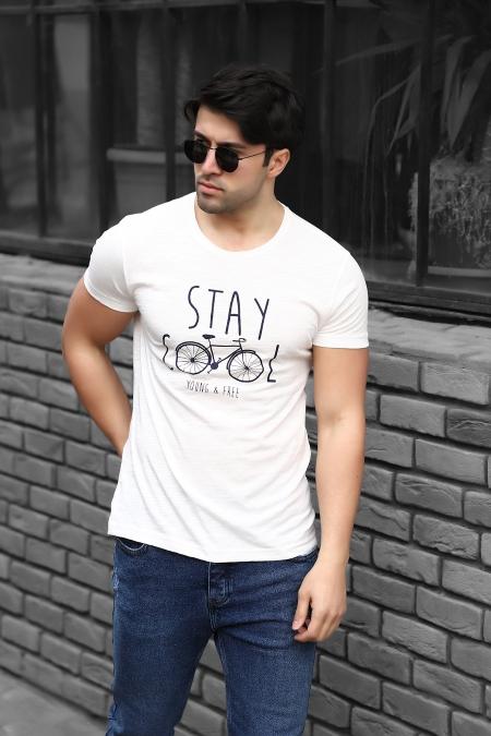 Stay Cool Baskılı Regular Fit Pamuklu T-shirt AC-Y38339LNS_