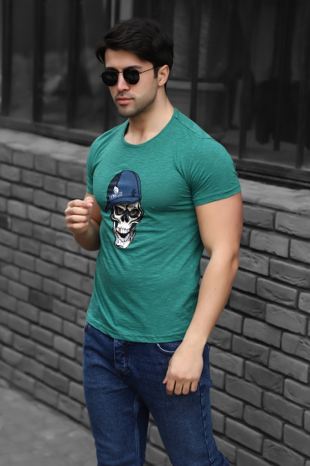 Kuru Kafa Baskılı Regular Fit Pamuklu T-shirt AC-Y38349LNS-414326154