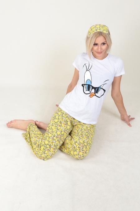 Gözlük Baskılı İkili Pijama Takımı -414511585