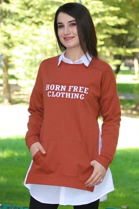 İki İplik Gofre Baskılı Gömlek Tunik -414518853