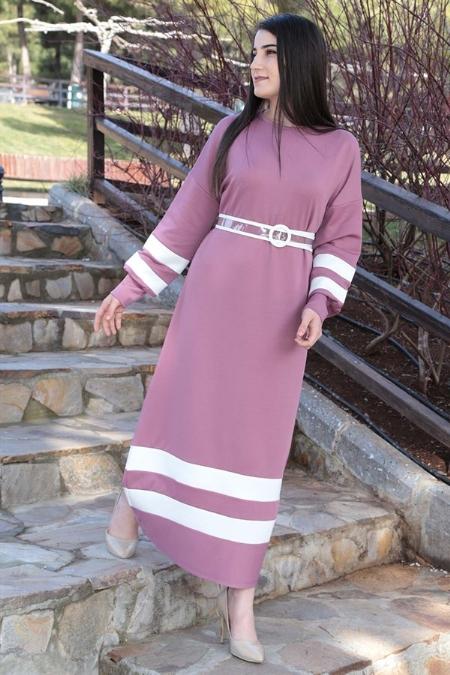 Şeritli Kemerli Elbise-414514188