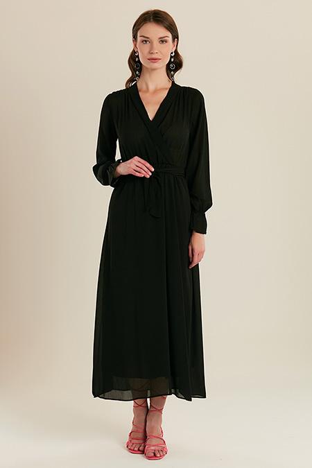 Kruvaze Yaka Kemerli Uzun Elbise-415710681
