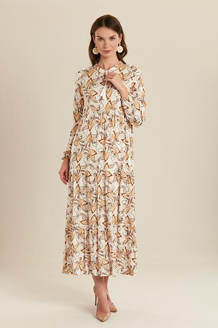 Kurdele Desenli Uzun Elbise-415711541