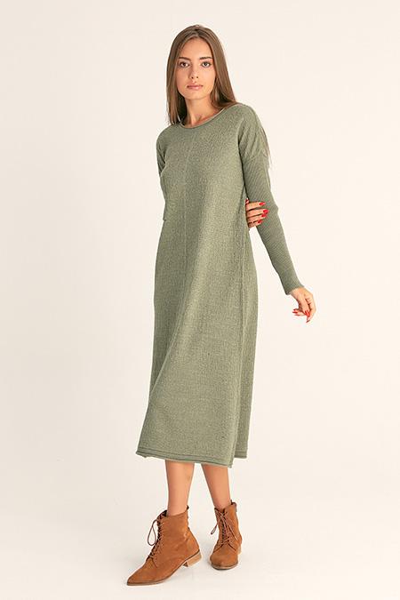 Cep Nakışlı Uzun Elbise-415712505